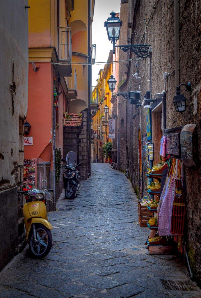 Cobblestoned street in Sorrento, Italy