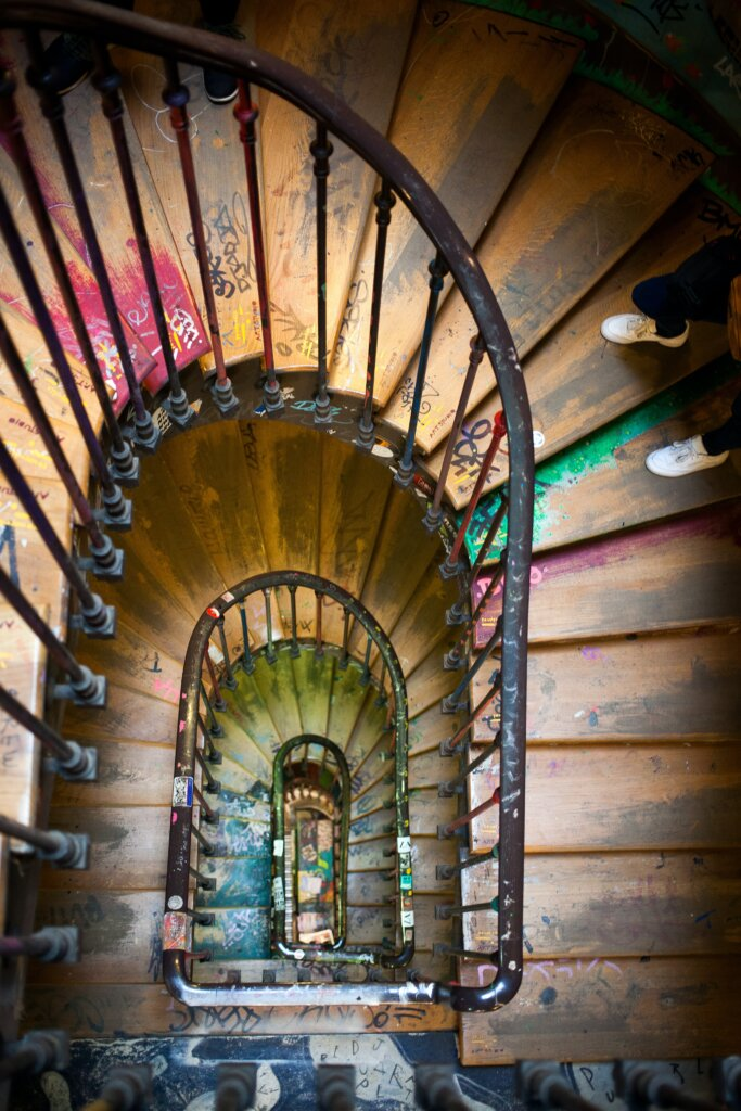 Overhead shot of a winding staircase in Paris