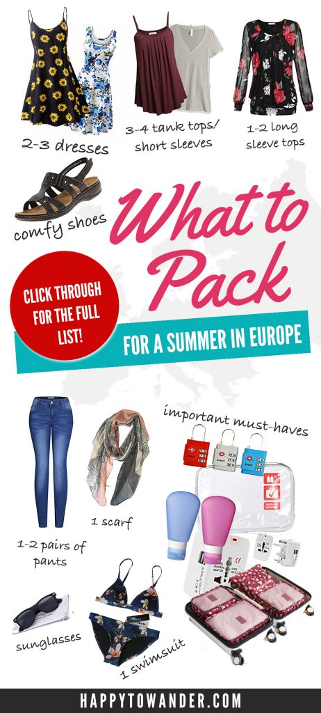 Wondering what to pack for Europe, or searching for the perfect Europe packing list? This post has you covered! It features a thorough guide on what to pack for Europe, no matter for 1 week, 2 weeks, or a month. Be sure to save this for your future travels!