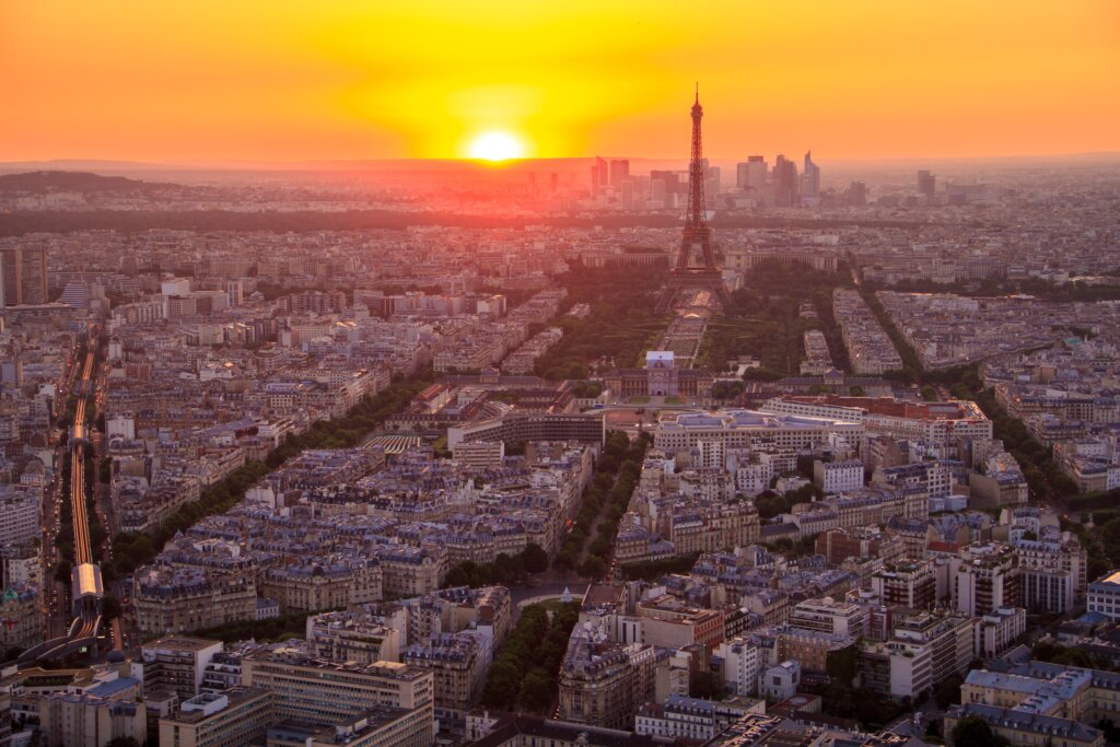 Sunrise in Paris with the Eiffel Tower in view