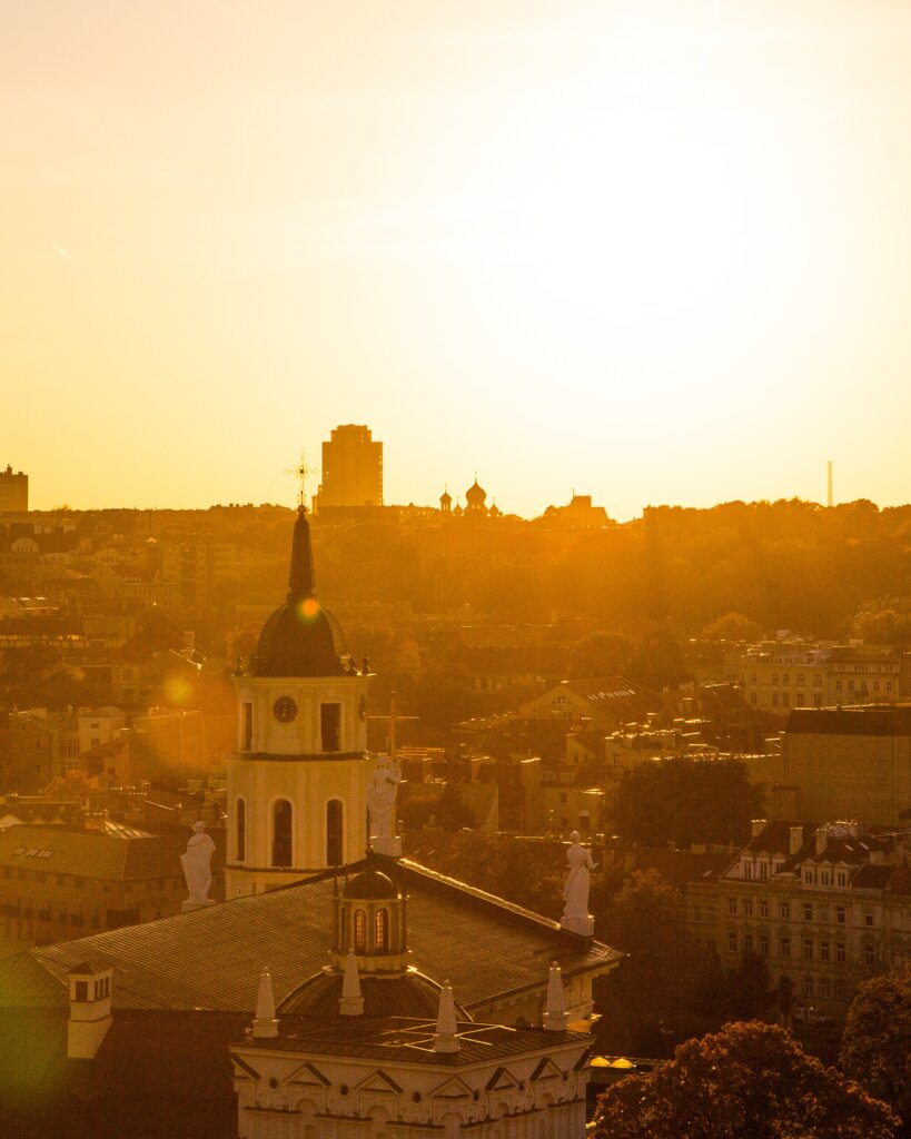 Sunset view in Vilnius, Lithuania