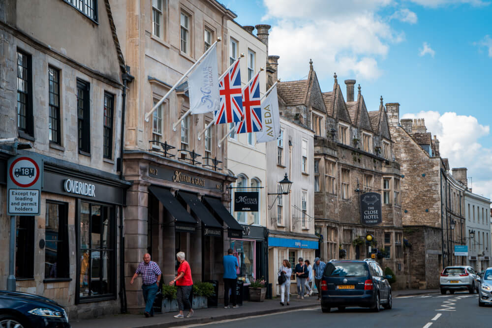 A picture-perfect scene in Tetbury, England in the Cotswolds