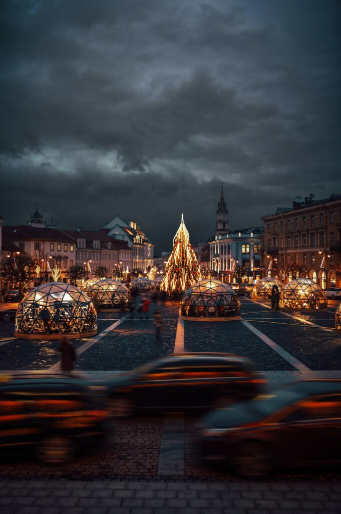Main square in Vilnius, Lithuania by night