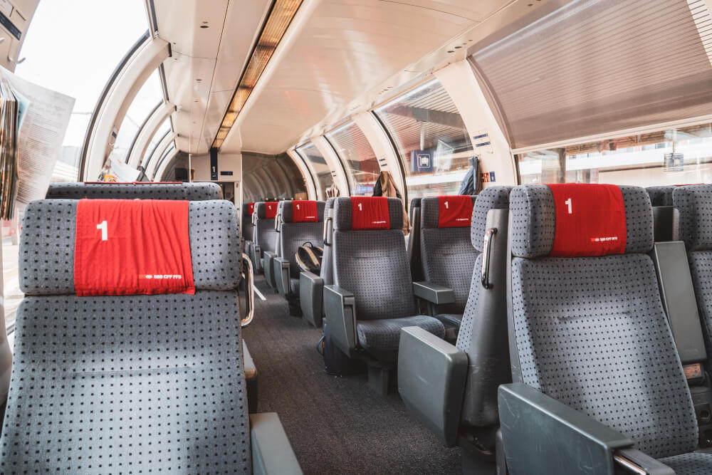Comfy 1st class Swiss train carriage