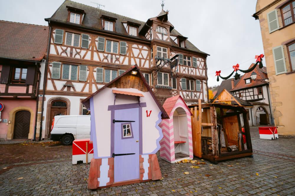Whimsical elf houses in Turckheim France's Christmas market