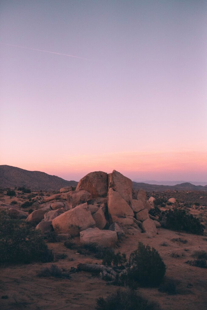 US desertscape with a pink sunrise