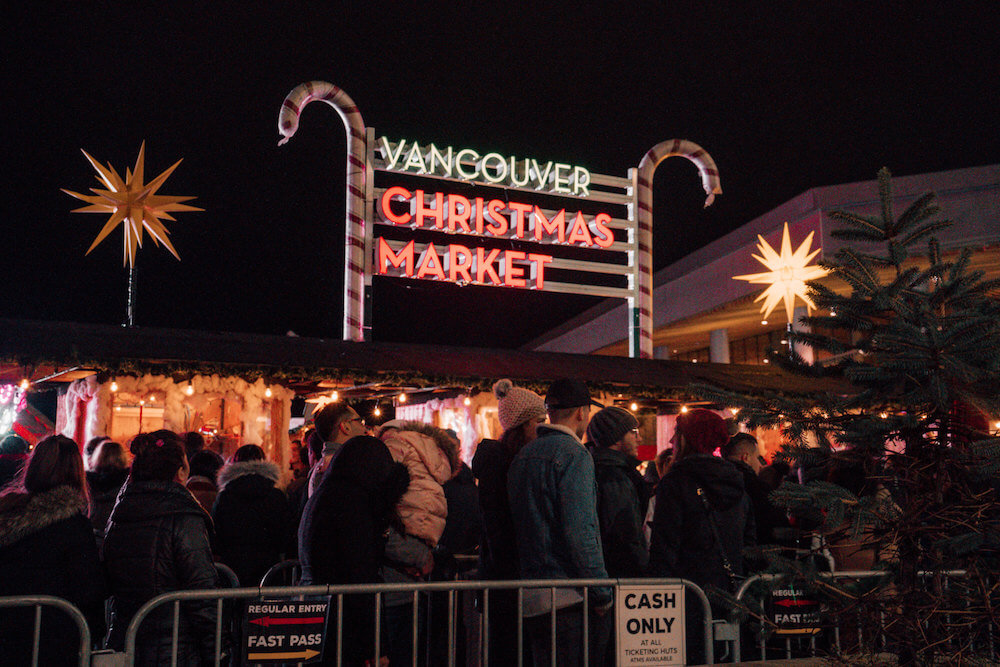 Long line-up at entrance of Vancouver Christmas Market in Vancouver, Canada