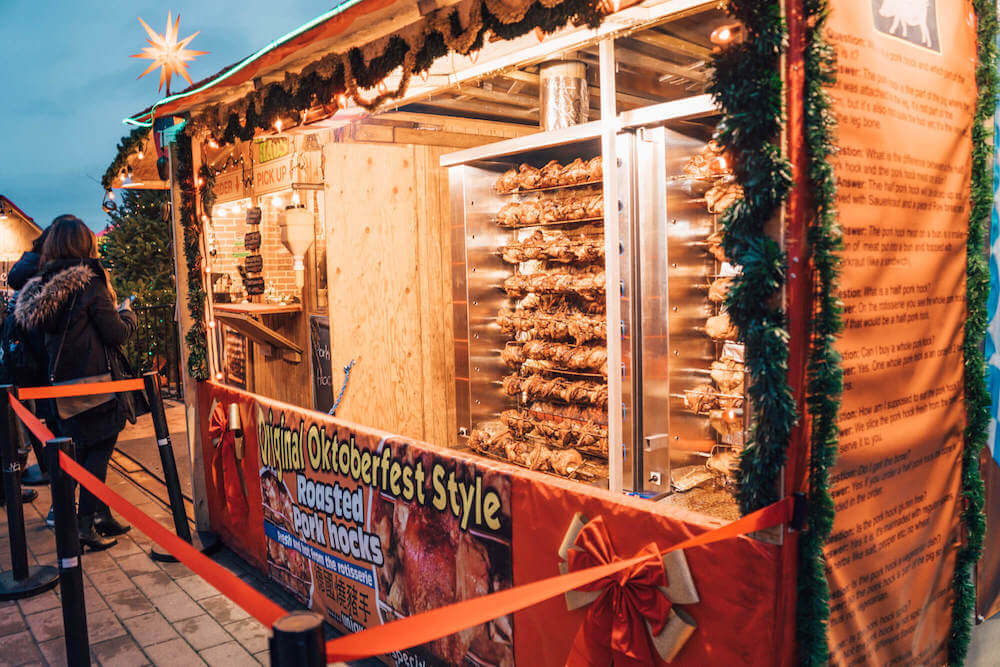 Pork hocks at Vancouver Christmas Market in Vancouver, Canada