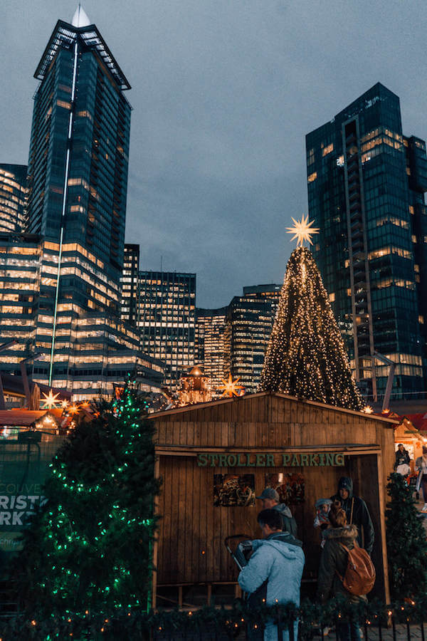 Blue hour at Vancouver Christmas Market in Vancouver, Canada