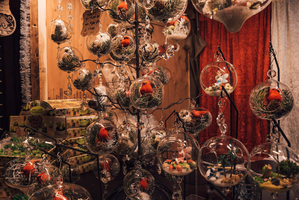 Ornaments at Vancouver Christmas Market in Vancouver, Canada