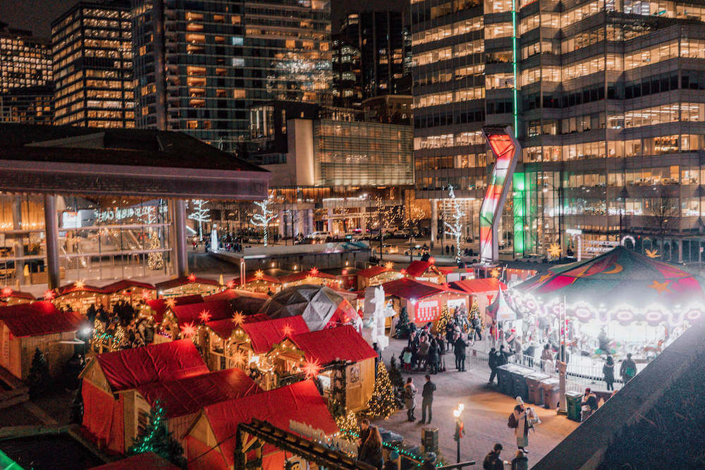 Night time overview shot of the Vancouver Christmas Market in Vancouver, Canada