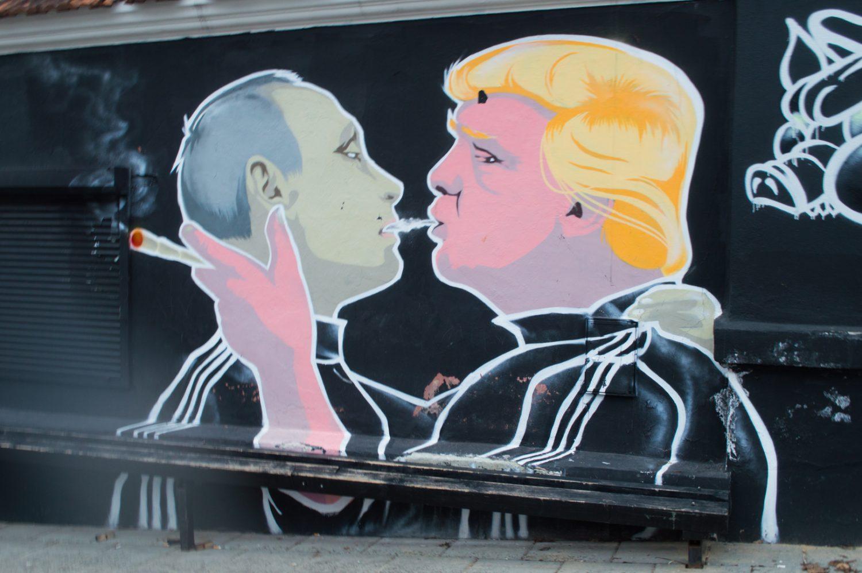 Street art mural of Trump and Putin in Vilnius, Lithuania