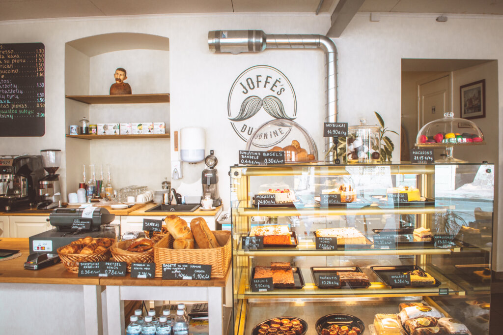 Cafe in Vilnius, Lithuania with pastries on display