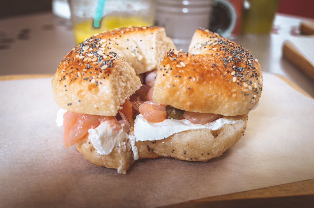 Salmon and capers bagel