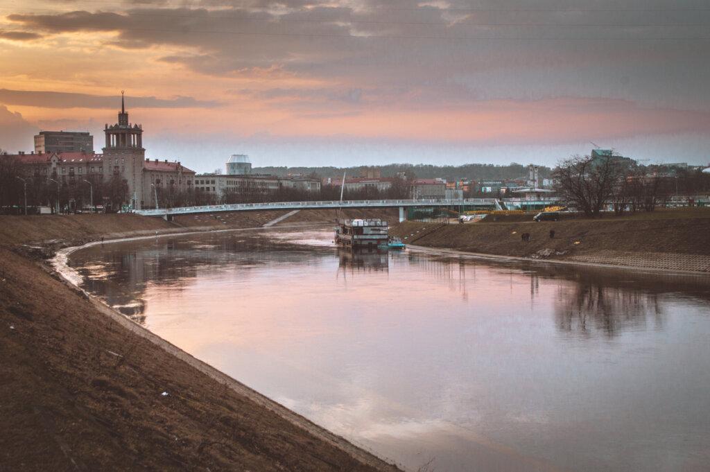 Sunset over river in Vilnius, Lithuania