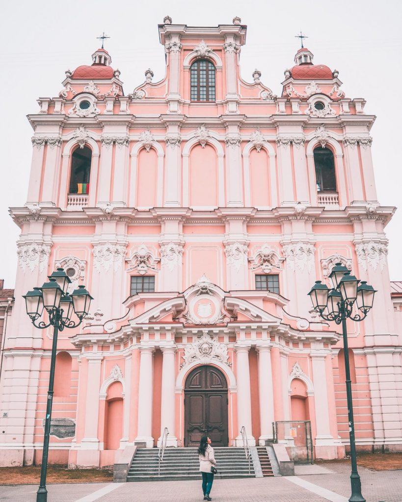 The pink Saint Casimir Church in Vilnius, Lithuania