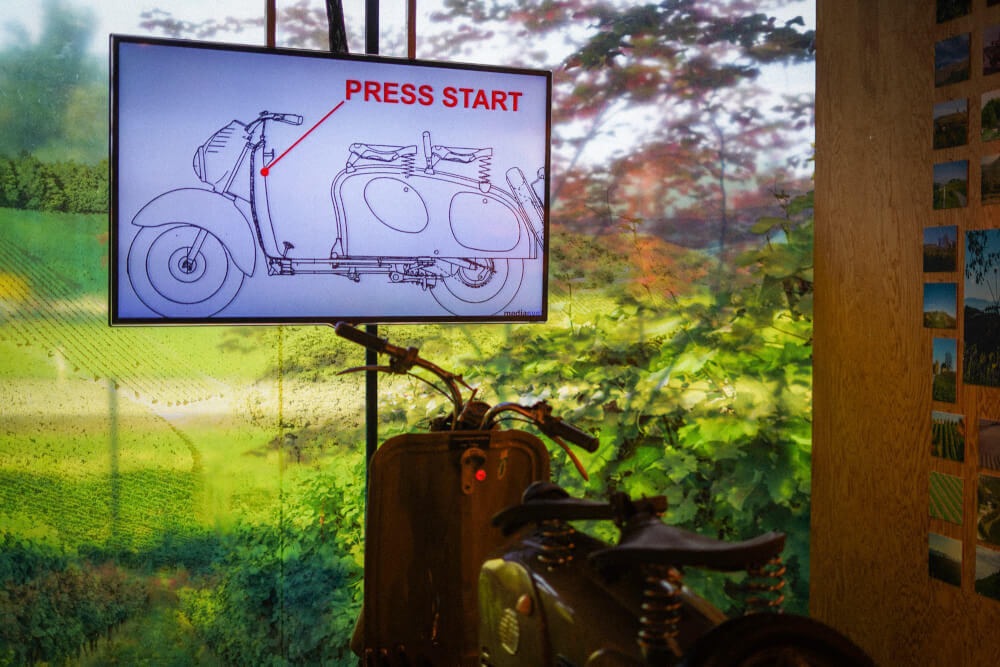 Motorcycle simulator at Vinofaktur Genussregal