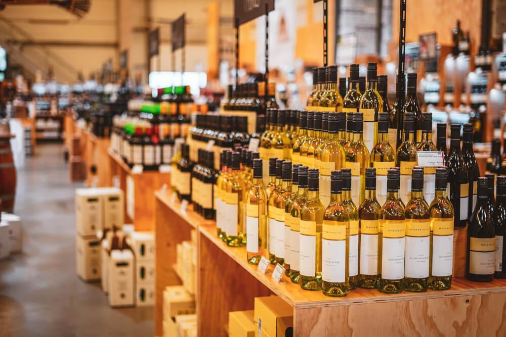 Wine displays at the Vinofaktur Genussregal