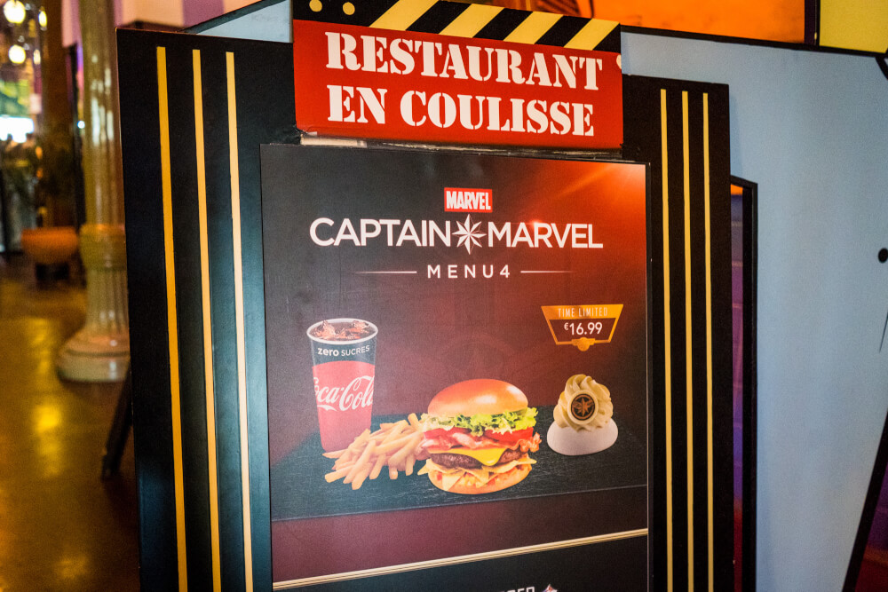 Captain Marvel menu at the Marvel Season of Heroes in Disneyland Paris