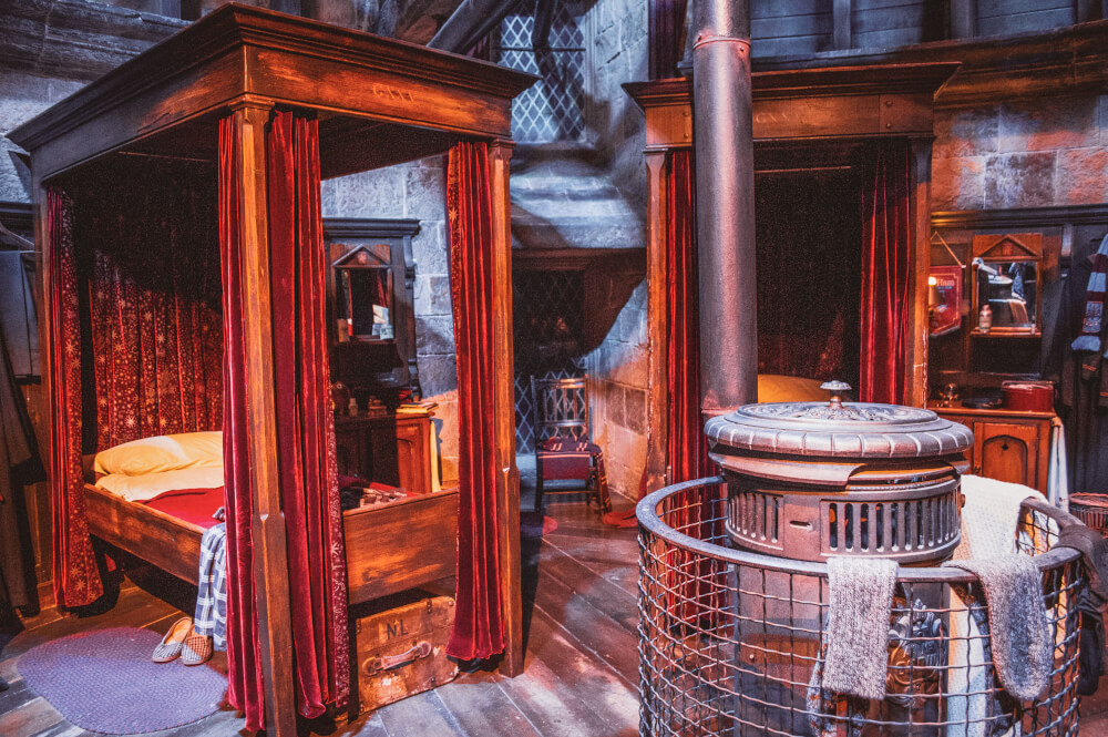 Gryffindor dorm room at the Harry Potter Studio Tour in Leavesden