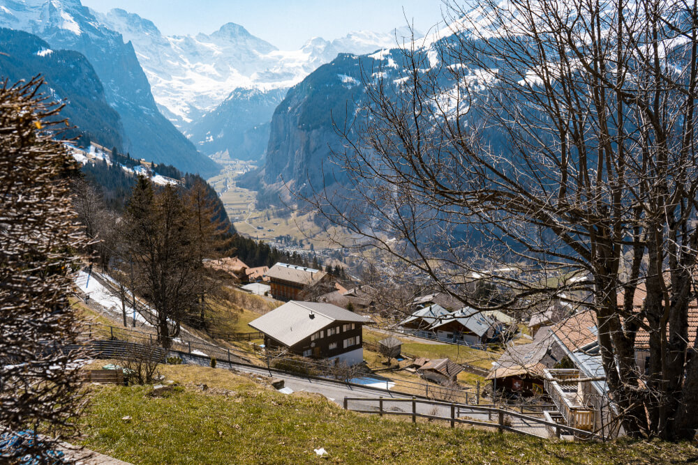 The view of Lauterbrunnen from Wengen in Lauterbrunnen Valley, Switzerland