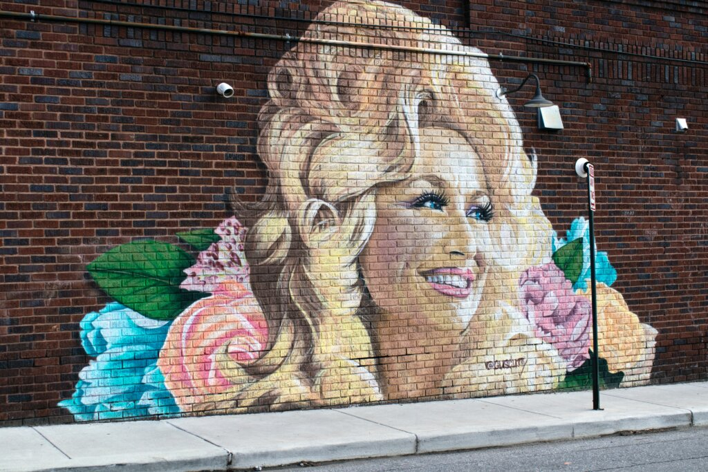 Dolly Parton mural in West Asheville, NC