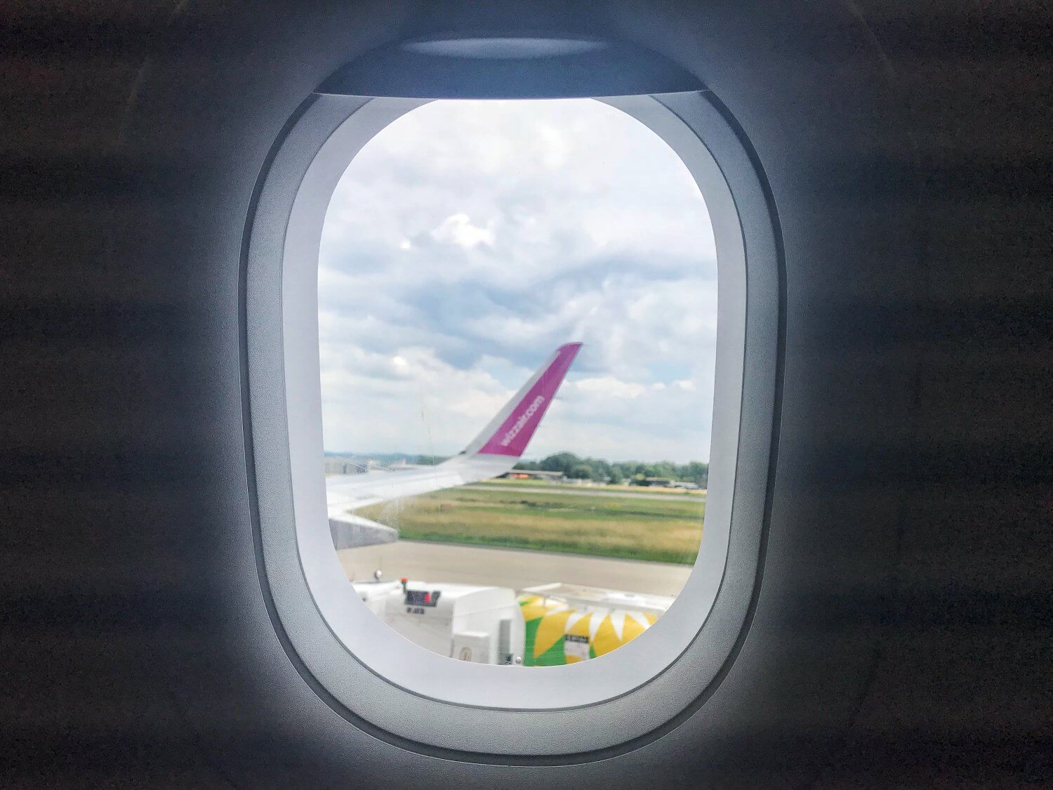 A view from the window of a Wizz Air plane