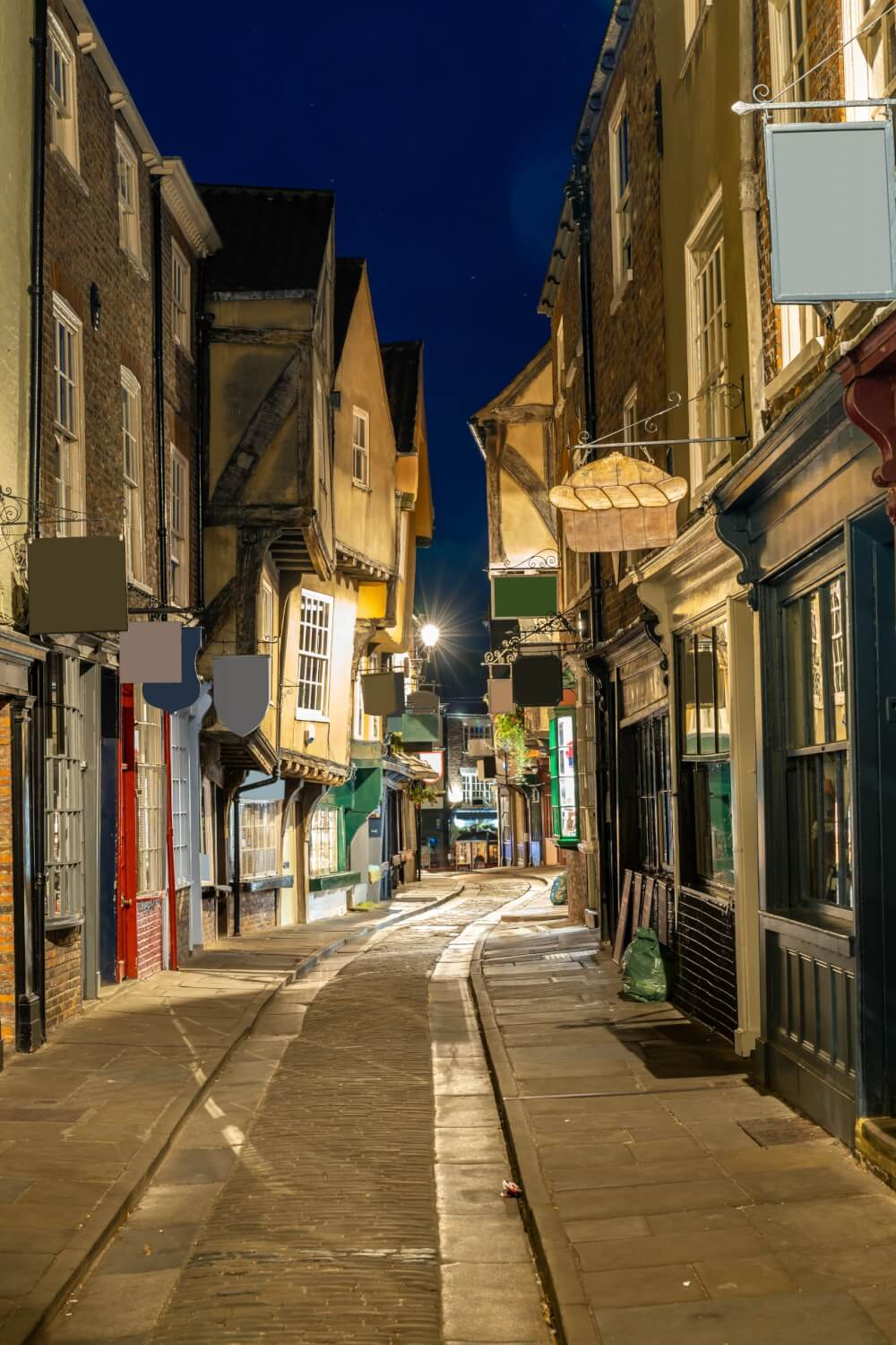 The Shambles by night in York, England.