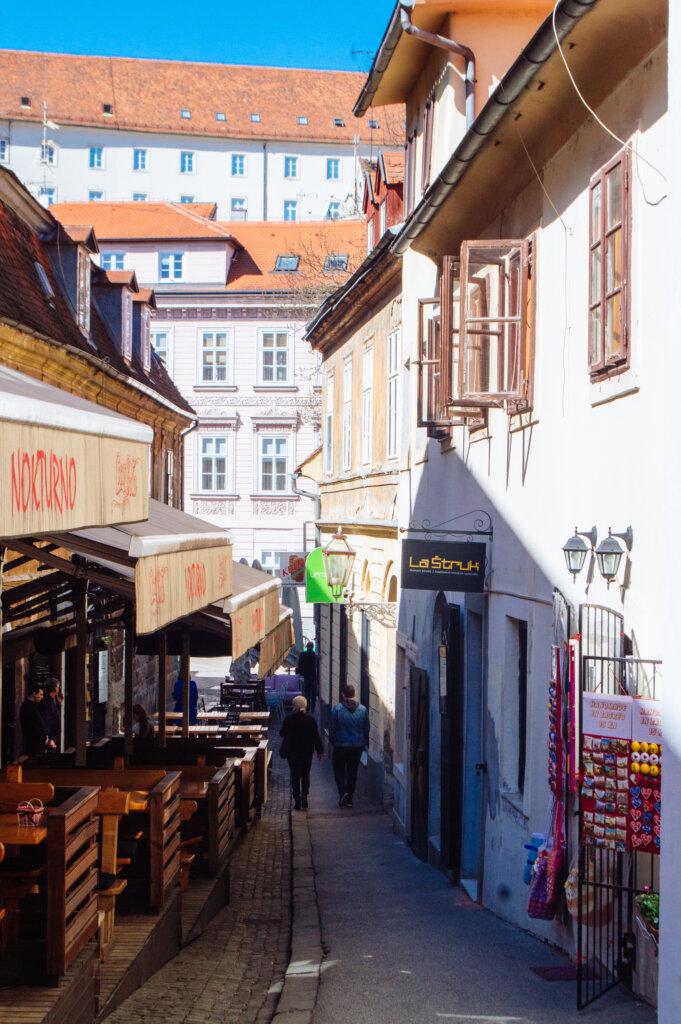 Old town street in Zagreb, Croatia