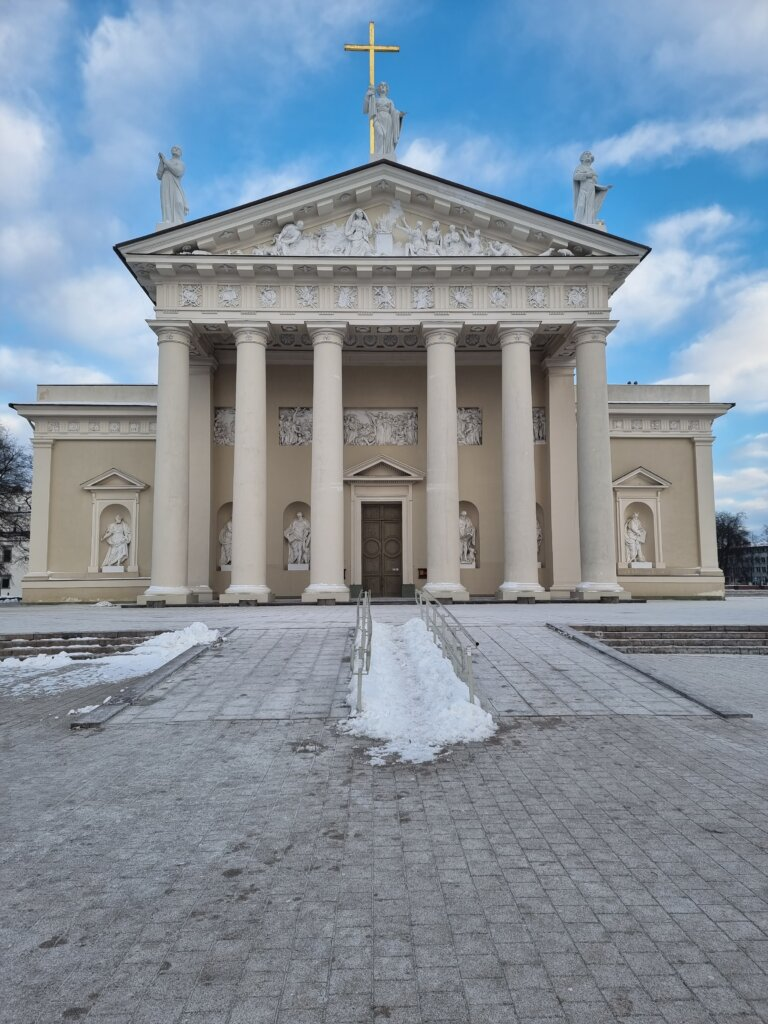 Vilnius Cathedral on a blue sky day in Vilnius, Lithuania