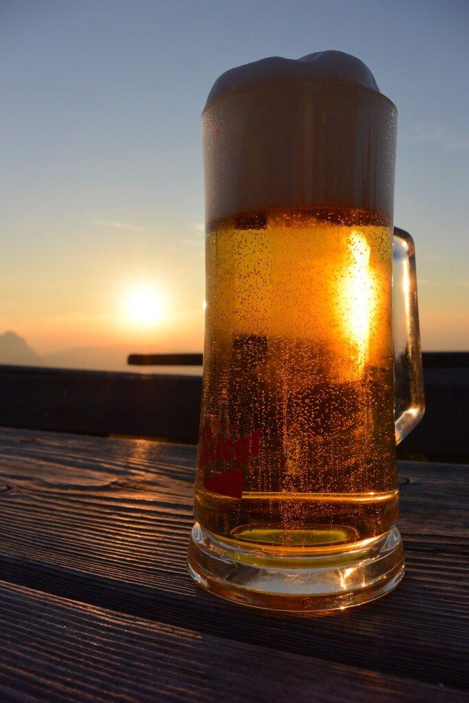 Beer at sunset in Salzburg, Austria