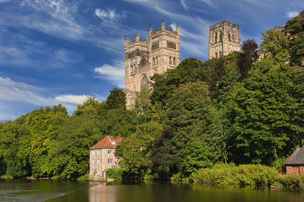 Durham Cathedral view from the river with a blue sky