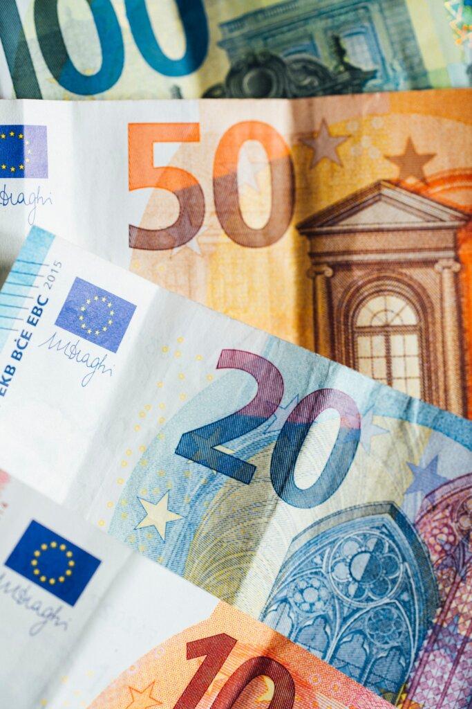 Euro bills close-up