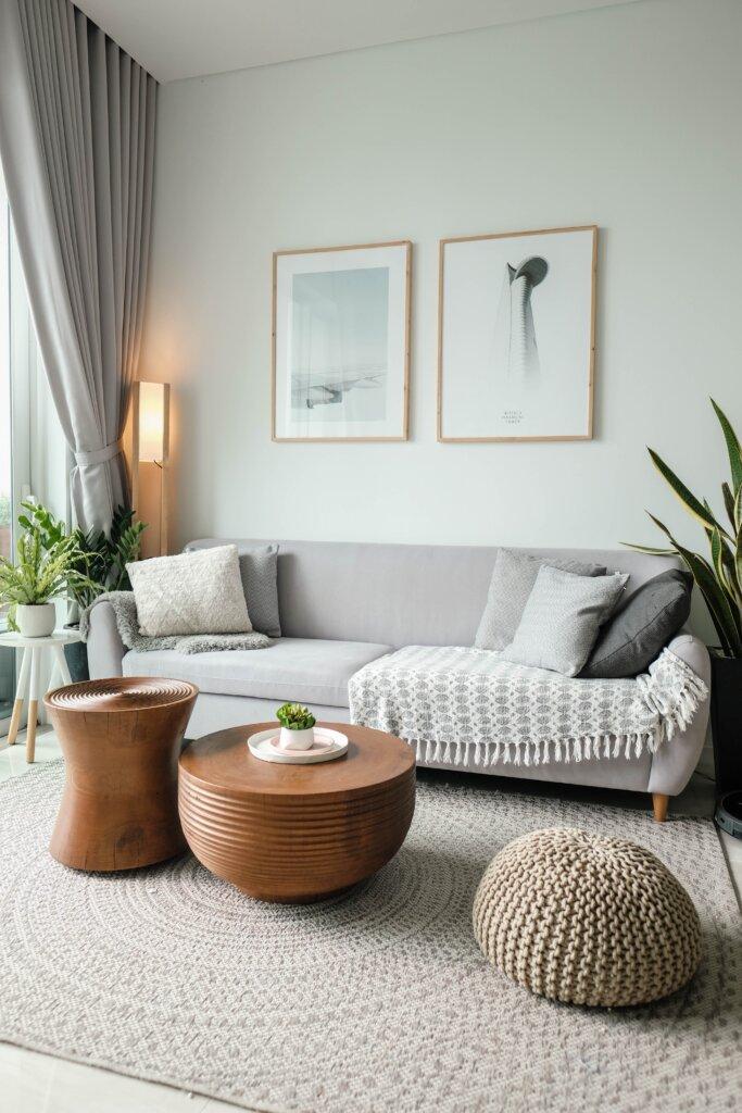 Bright airy boho chic home living room