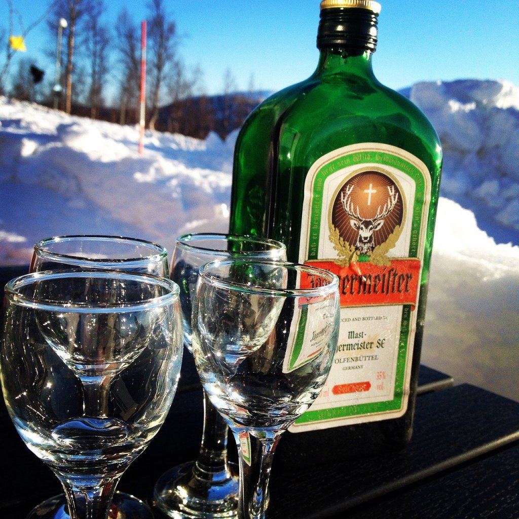 4 glasses and a bottle of Jagermeister liquor.