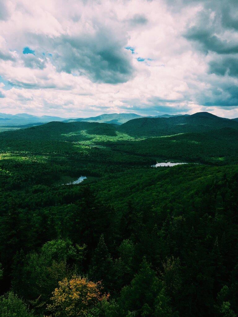 The lush, rolling Adirondack landscape.
