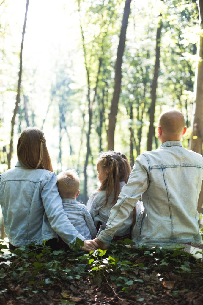 Family enjoying an outing outdoors