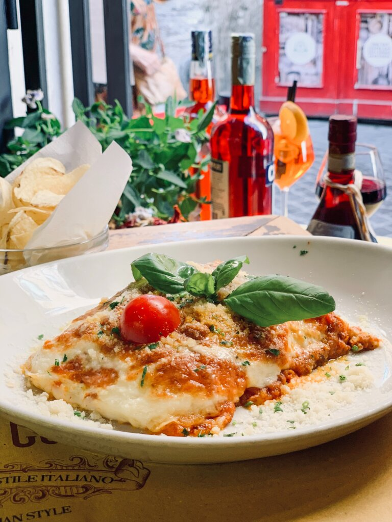 Lasagna on a plate in Rome