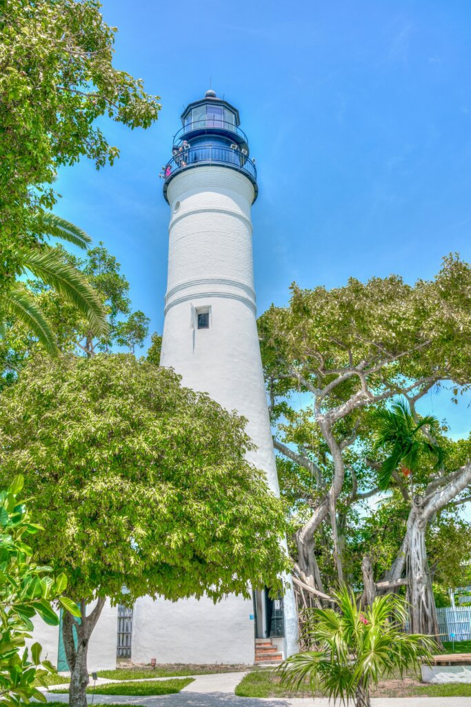 A light tower on a beautiful, sunny day in Key West.