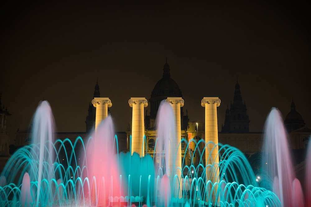 Montjuic Fountains in Barcelona, Spain