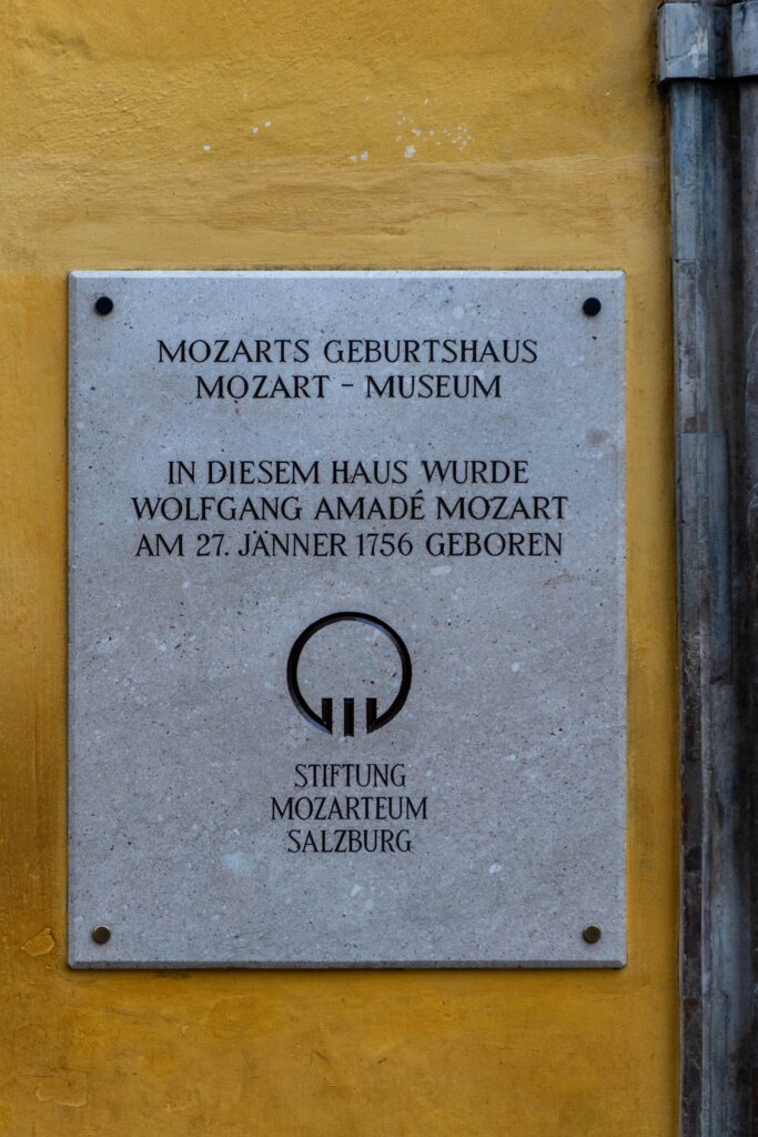 Name plaque at Mozart's birth house in Salzburg, Austria