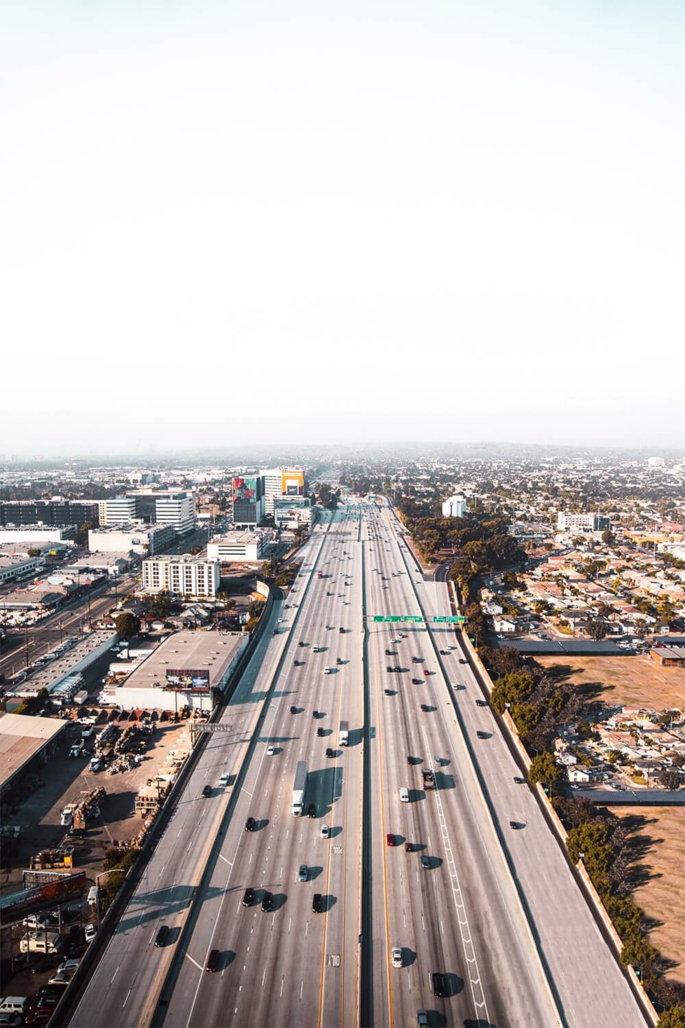 A view of a Los Angeles highway, showcasing the vast roads, plentiful lanes, and a prime location for car chases.