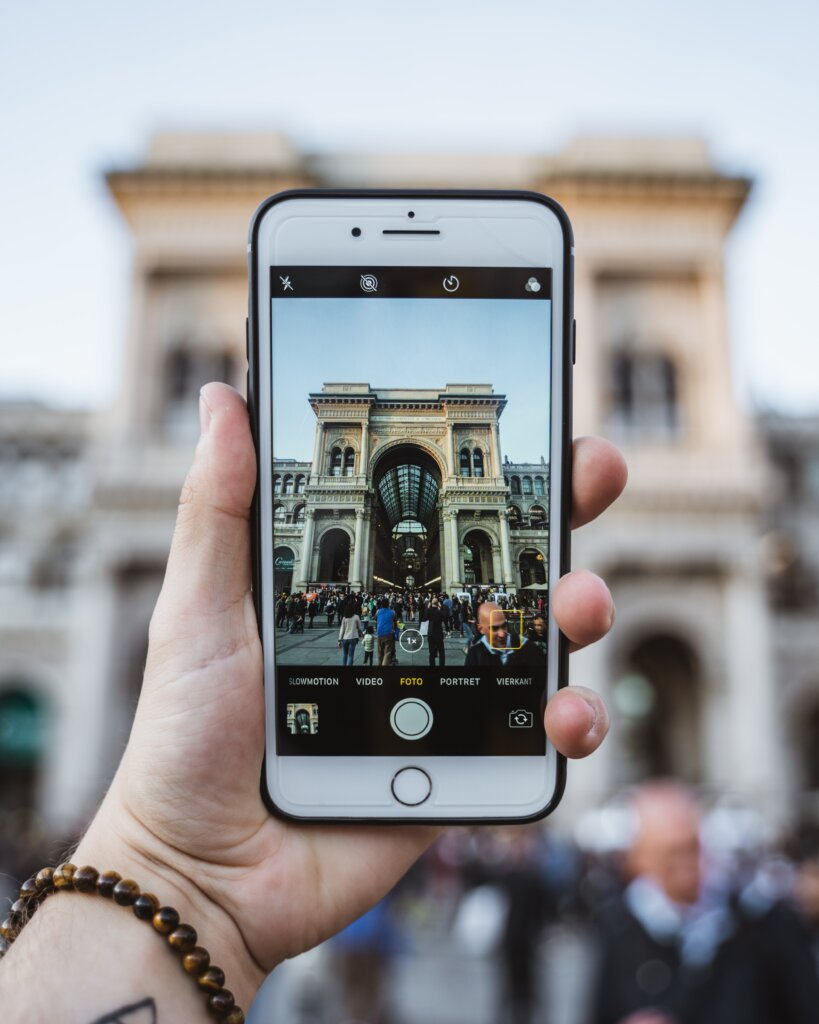 Phone taking a photo of a landmark