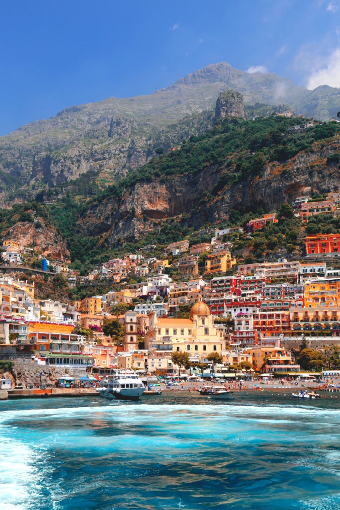 Colourful houses in Positano as seen from the water
