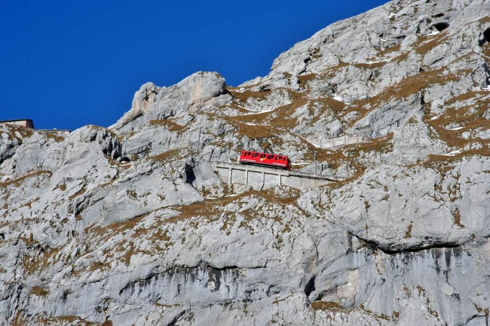 The steepest cogwheel train in the world, going up Mt Pilatus in Switzerland