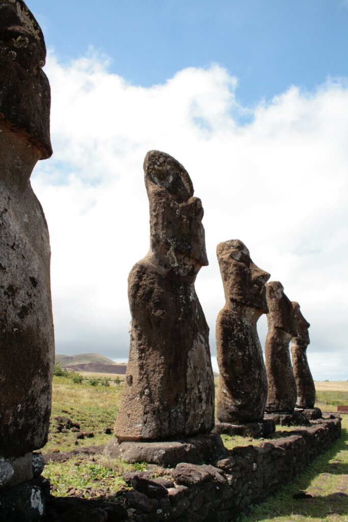 Close up of statues on Easter Island