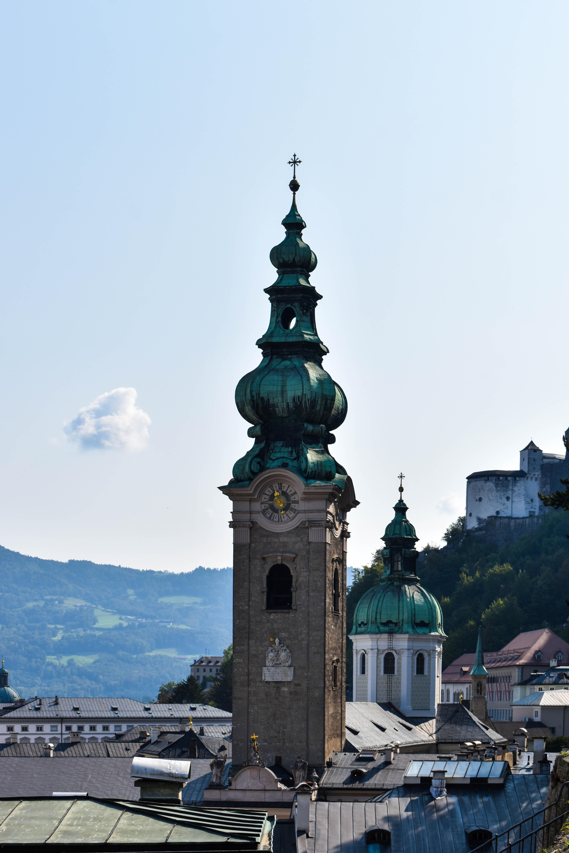 Church steeple close-up in Salzburg, Austria