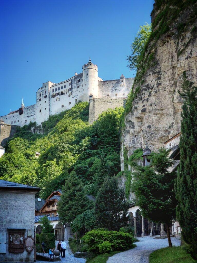 Rocky view of the Hohensalzburg fortress in Salzburg, Austria