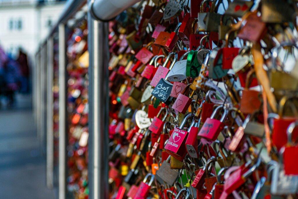 Close up of love locks in Salzburg, Austria