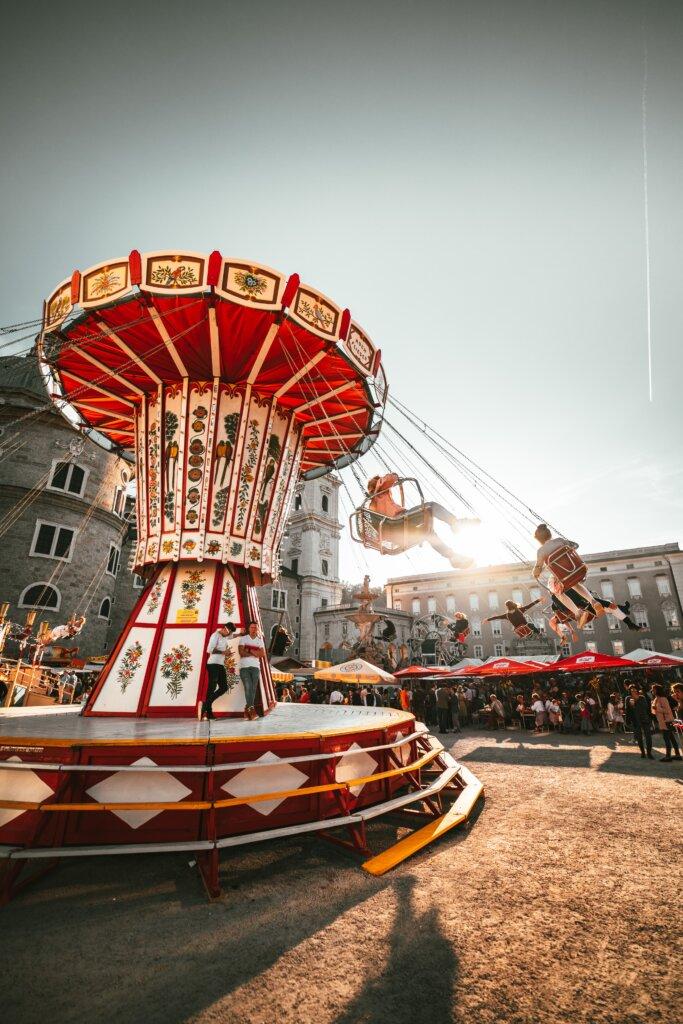 Swing carousel in Residenzplatz in Salzburg, Austria